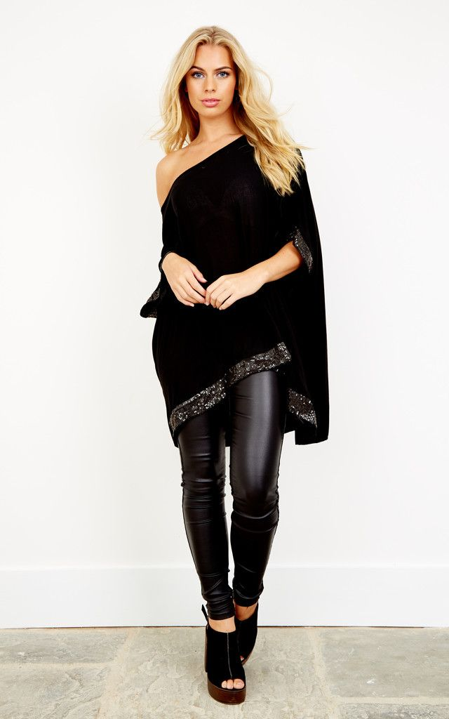 c17f9bf442e Black Sequin Hem And Sleeve Oversized Top By Lilah Rose