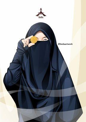 Gambar Kartun Muslimah Bercadar Pakaian Syar i Wanita