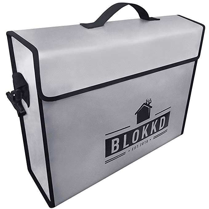 Download Blokkd Fireproof Document Bags Fire Proof Safe Lock Box Bag Waterproof Storage Safety For Files Money Passport Safe Lock Box Waterproof Storage Safe Lock