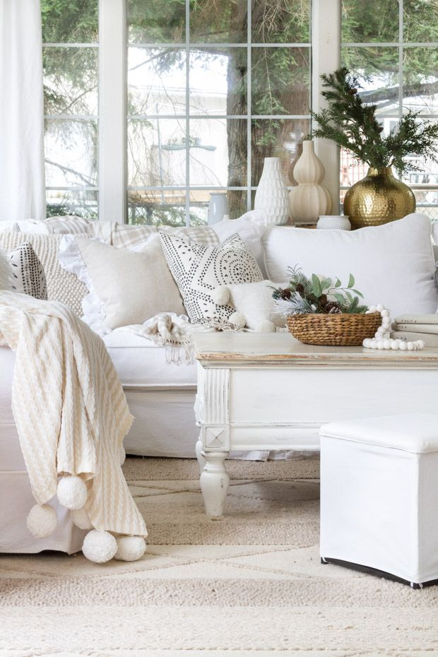 10 Simple Ways To Decorate For Winter  Cottage Style Decor Classy White On White Living Room Decorating Ideas Review