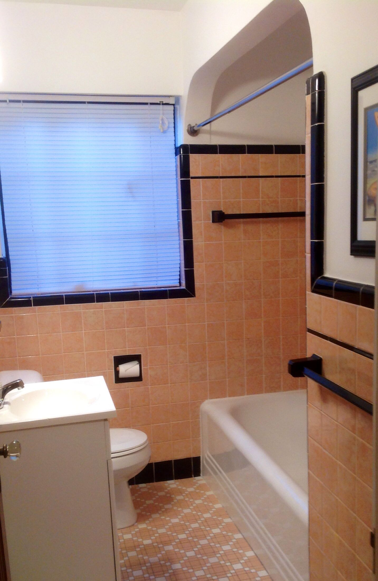 Vintage 1937 Peach And Black Bathroom Original To My Home