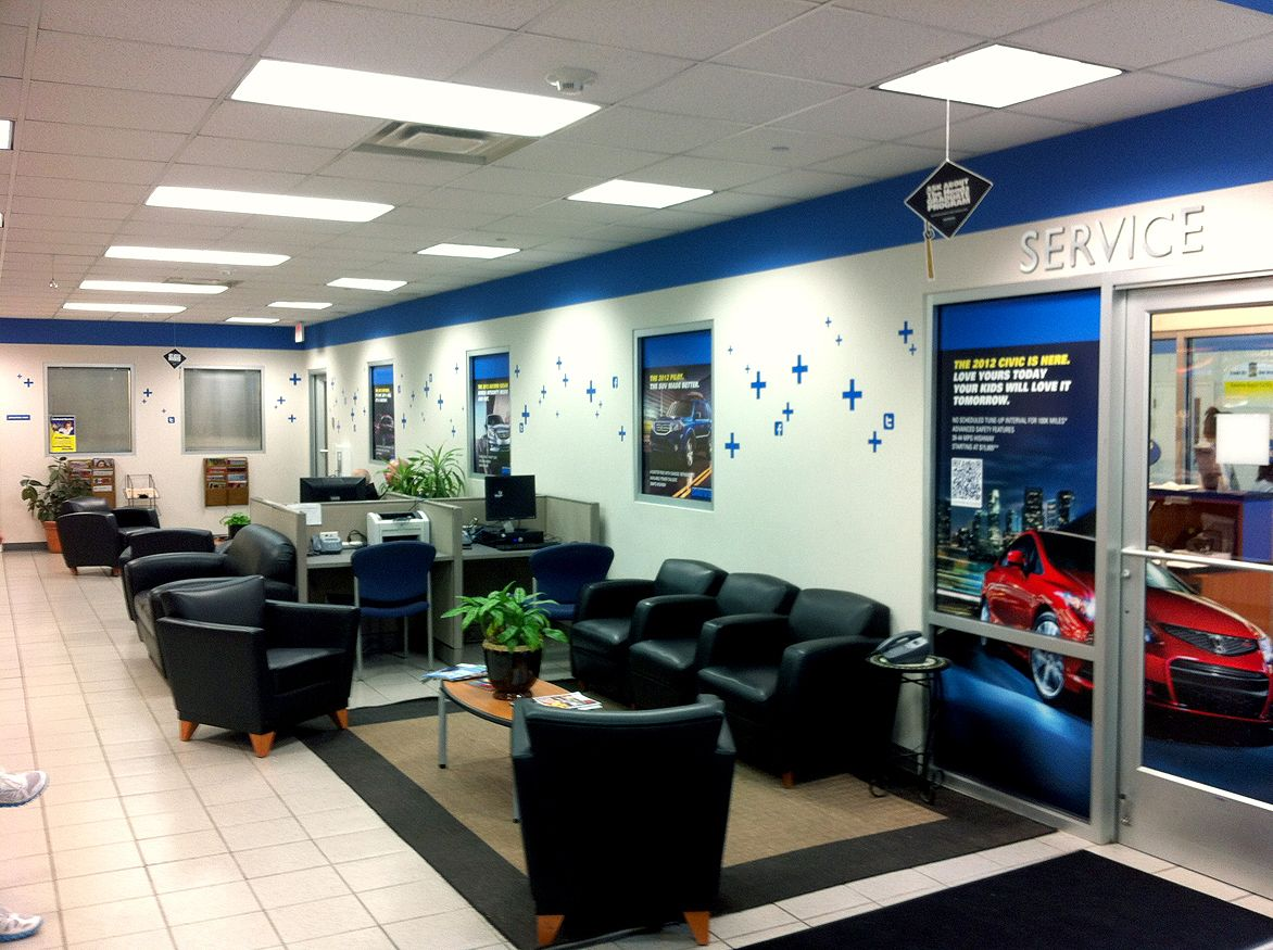 Route 23 Honda Service Department Waiting Area With Secondary Branding And Social Media Icons A Very Subtle Way To Keep The Honda Service Waiting Area Home