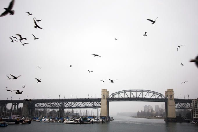 View of burrard bridge from granville market vancouver canada - Lonely planet head office ...