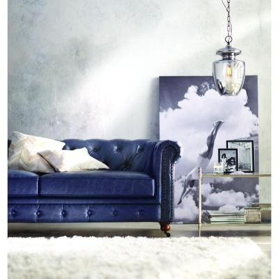 Home Decorators Collection Gordon Blue Leather Sofa 0849400310 The Home Depot In 2020 Blue Leather Sofa Blue Leather Couch Best Leather Sofa
