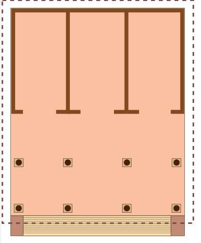 PLAN: of an Etruscan temple.Despite their Greek origins, Etruscan temples are uniquely Etruscan. The temple is frontal and axial and often has more than one cella. Etruscan temples stood on high podiums with a single central staircase.