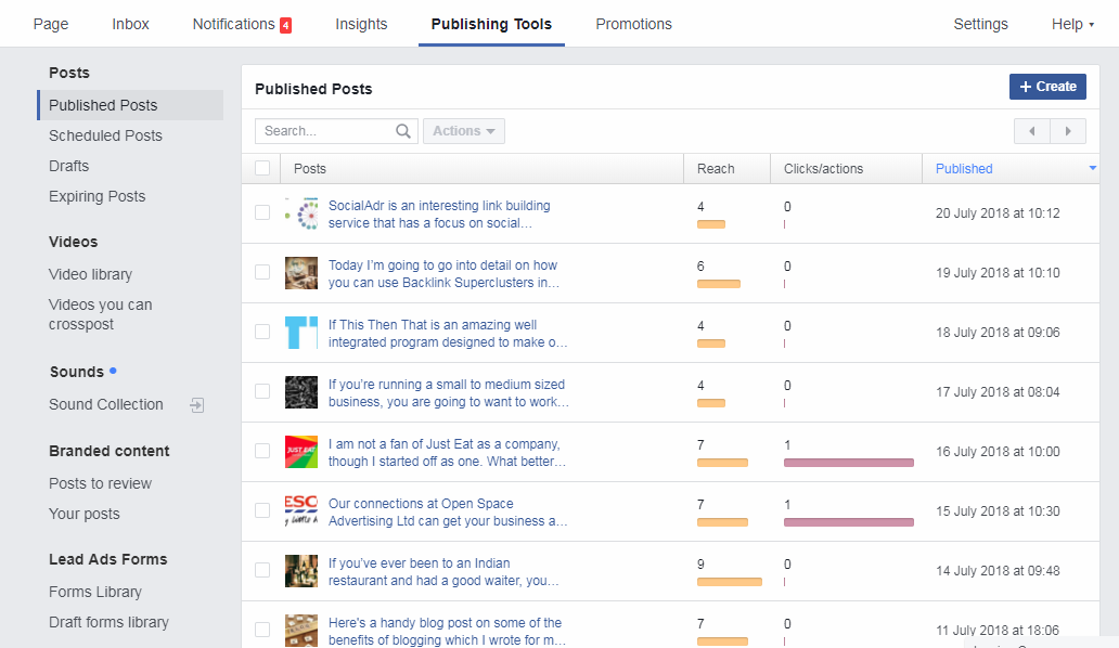 publishing tools on facebook