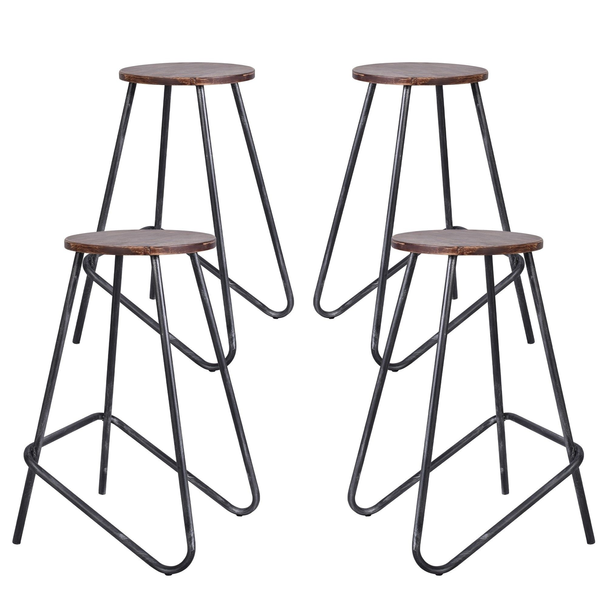 Elise Industrial Backless Metal Barstool In Silver Brushed Gray