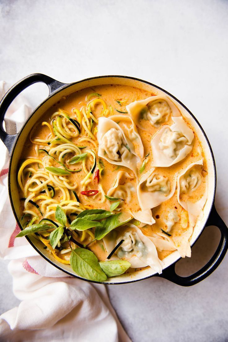 Red Curry Wonton Soup with Zucchini Noodles | Heal