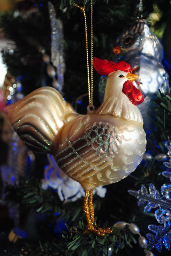 Chicken ornaments - glass rooster (I have a chicken Christmas tree, too!) - Chicken Ornaments: Decorating For The Holidays Farm Fresh Style