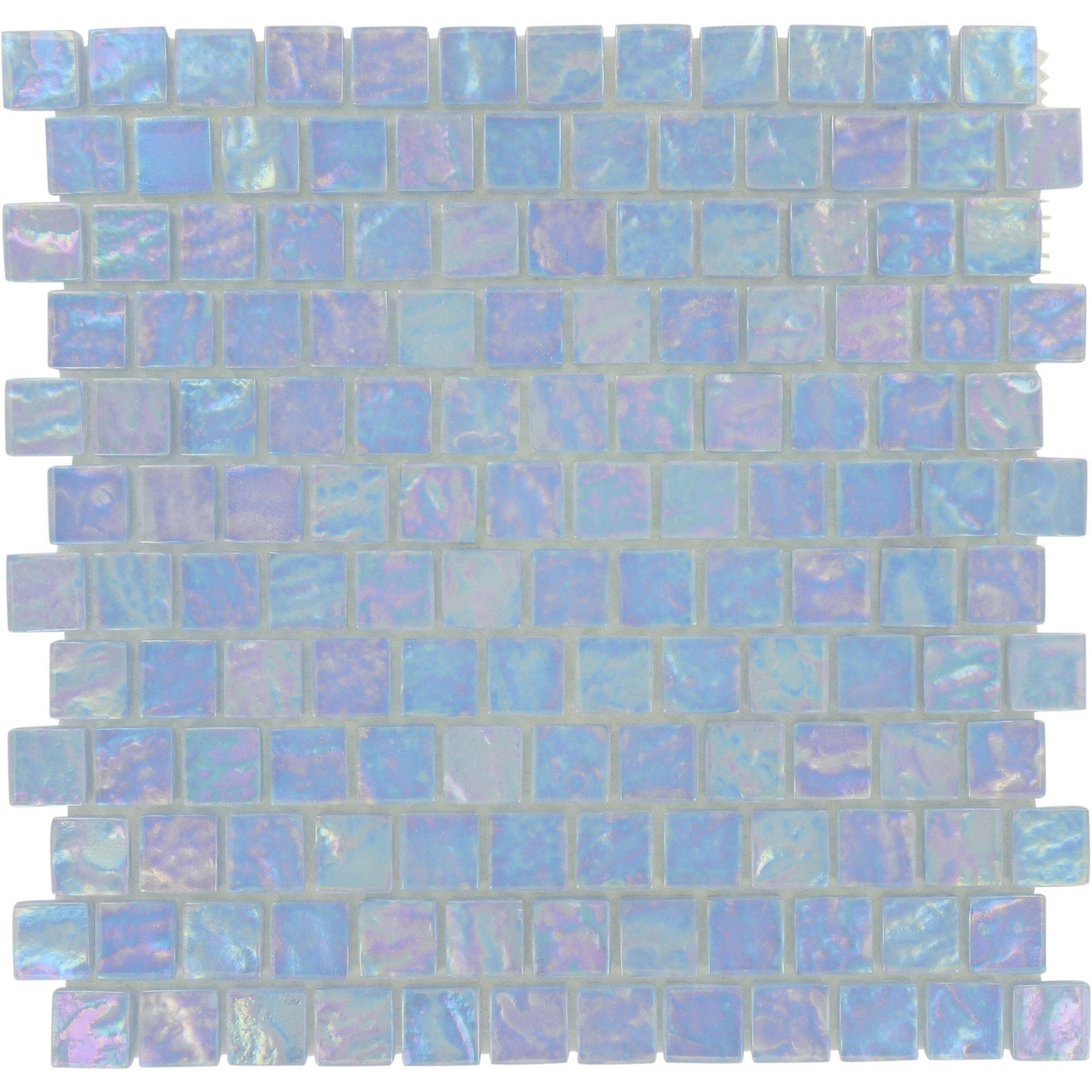 Sheet Size 11 3 4 X 11 3 4 Tile Size 7 8 X 7 8 Tiles Per Sheet 144 Tile Thickness 1 4 Grout Joints 1 Blue Glass Tile Iridescent Glass Tiles Glass Tile