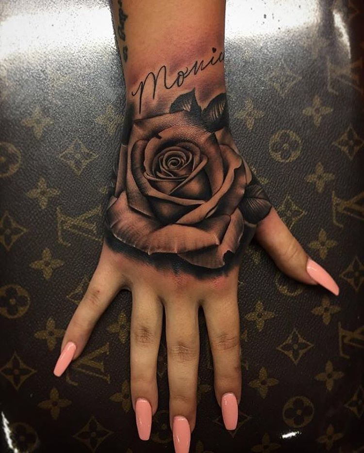Pictures Of Rose Tattoos On Hand Rose Hand Tattoo Hand Tattoos Hand Tattoos For Women