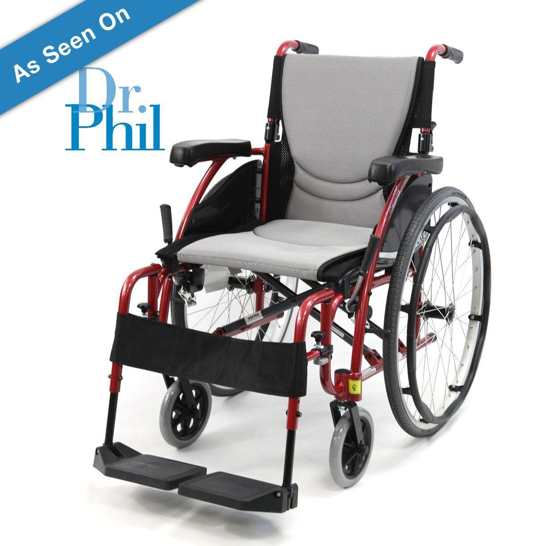 Pink electric wheelchair - Karman 18 Seat Lightweight Wheelchair In Red S Ergo 115
