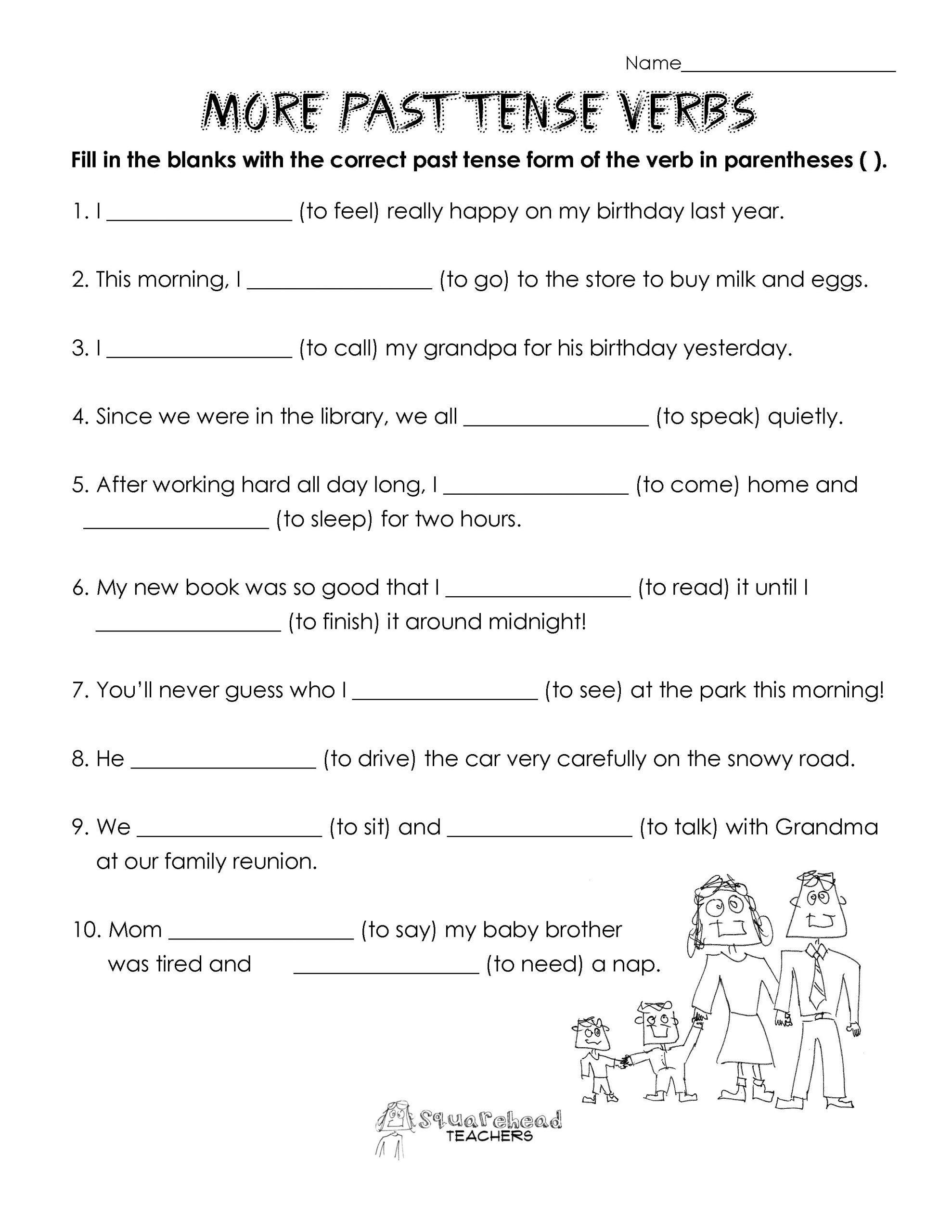 Helping Verbs Worksheet 2nd Grade Second Grade Verb Worksheets In 2020 Verb Practice Verb Worksheets Past Tense
