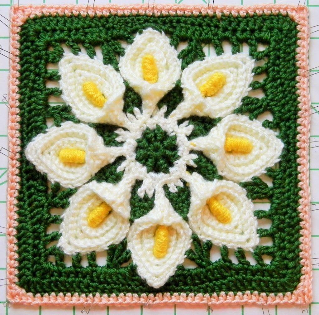 Free Crochet Pattern Calla Lily Granny Square Crochet Squares