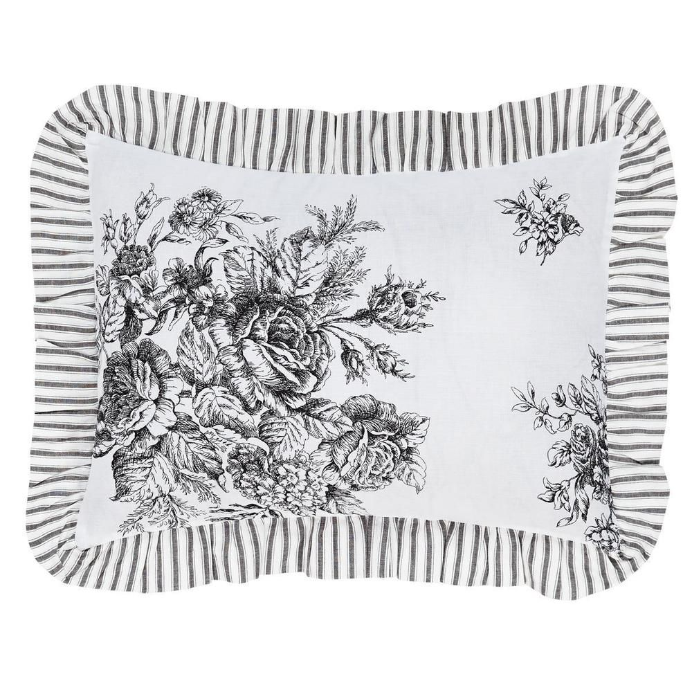 """Josephine Black & White Rose Bouquets Romantic Cottage Chic Pillow Cover 14""""x18"""" #VHCBrands"""