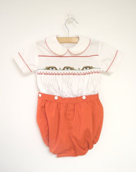 eed1e1caf7dd 1970 s Bright Red and White Puppy Dog Two Piece by BabyTweeds. Vintage Baby  Clothes ...