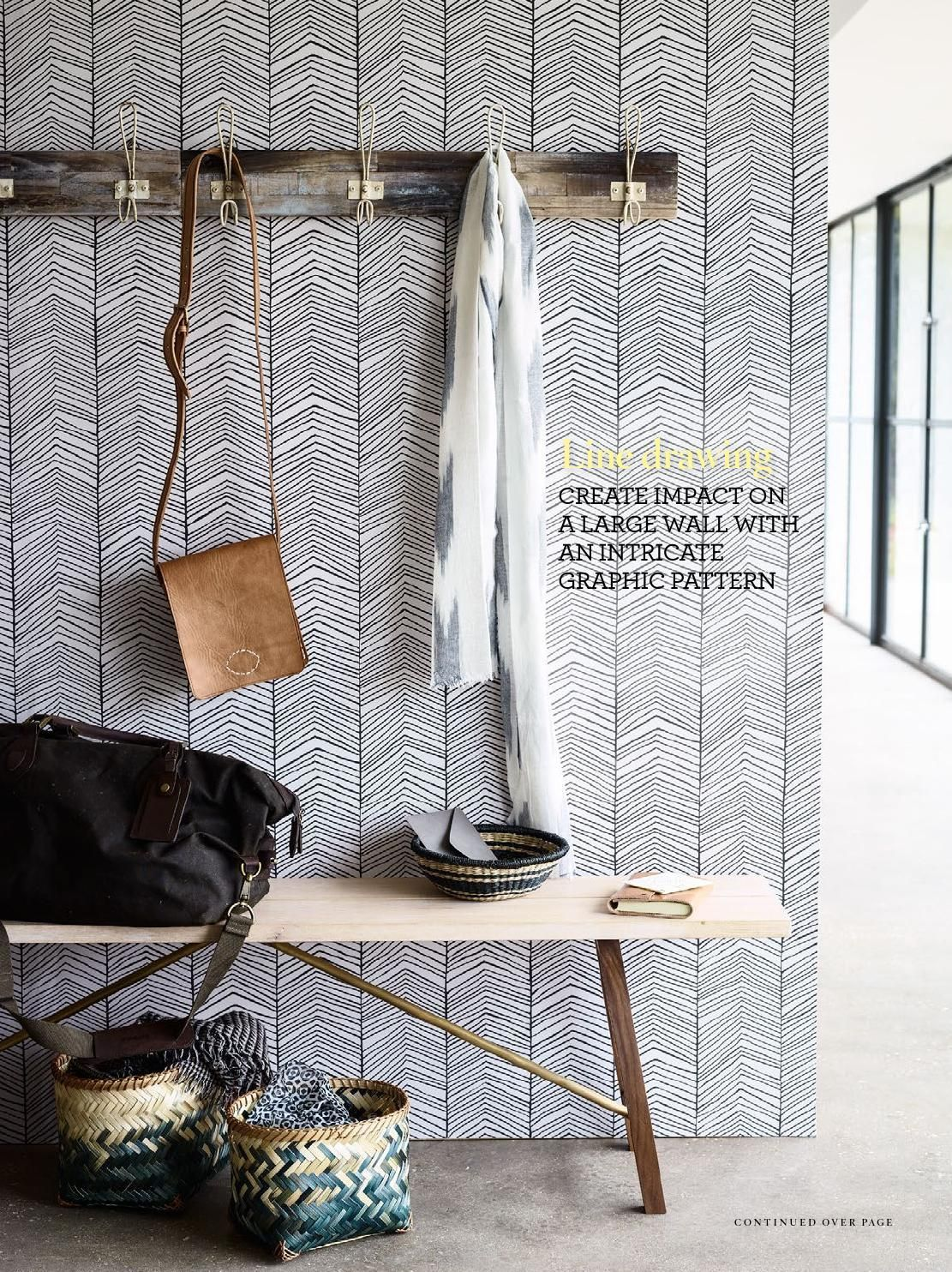 Skandinavische Tapete herringbone wallpaper flure wandfarben und tapete küche