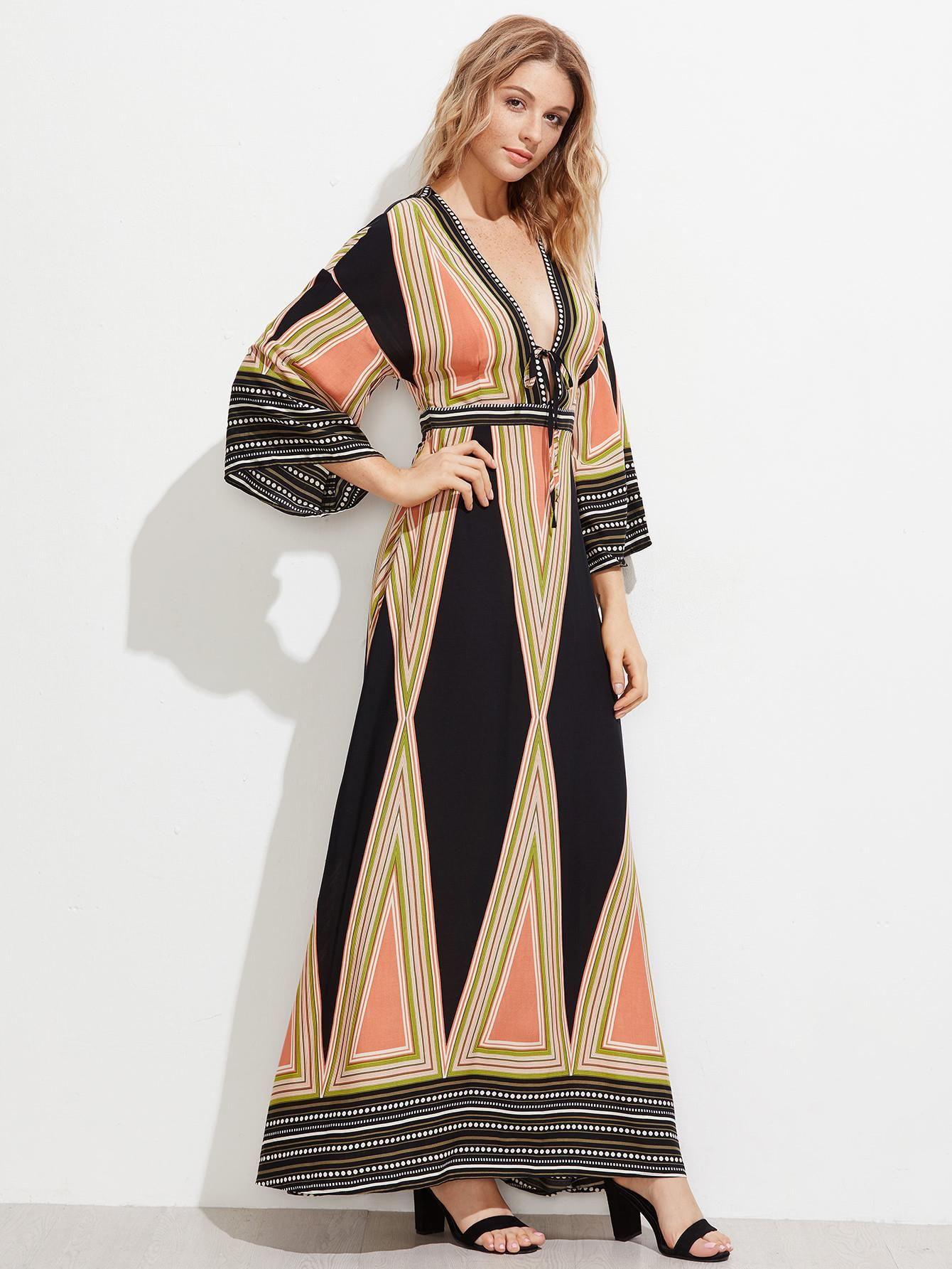 4bd154581e SheIn - SheIn Plunge Neck Split Back Kimono Dress - AdoreWe.com