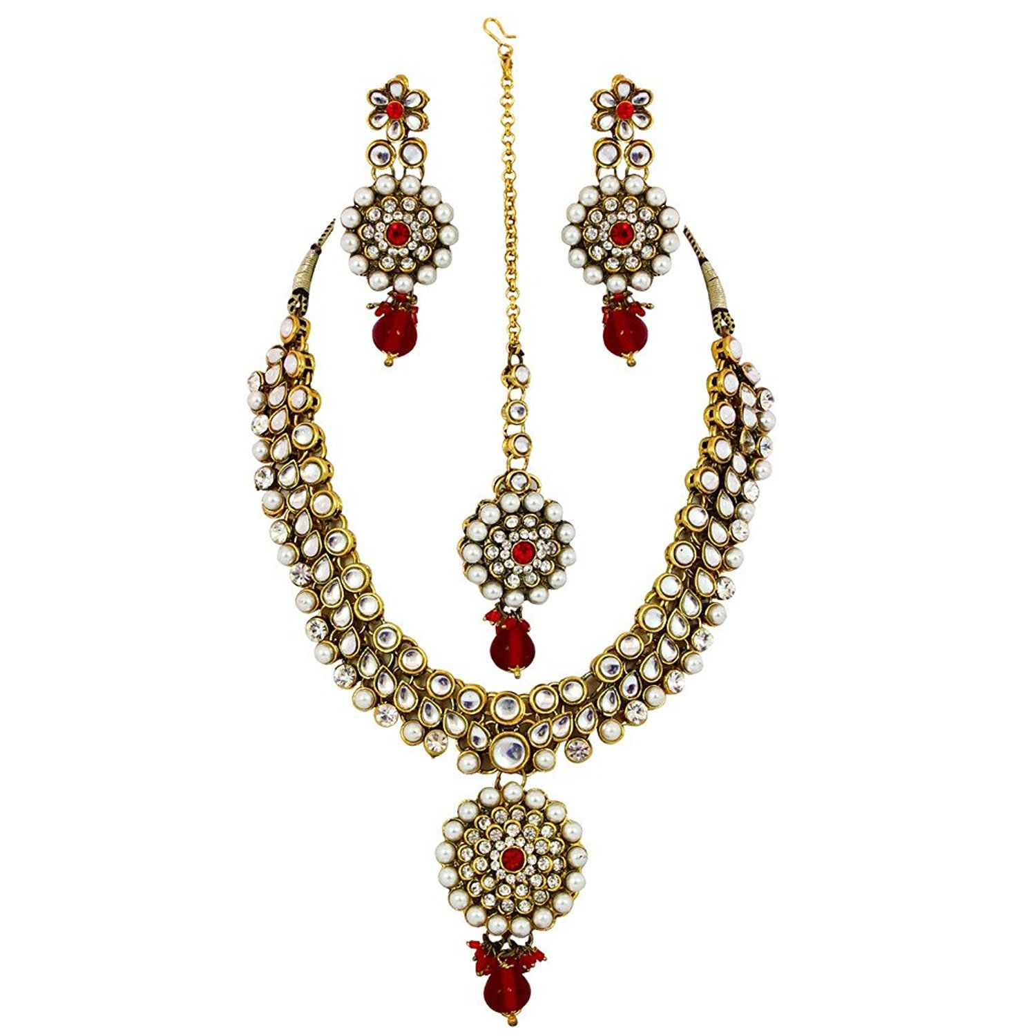 Jewelshingar jewellery coloured zircon necklace set for women