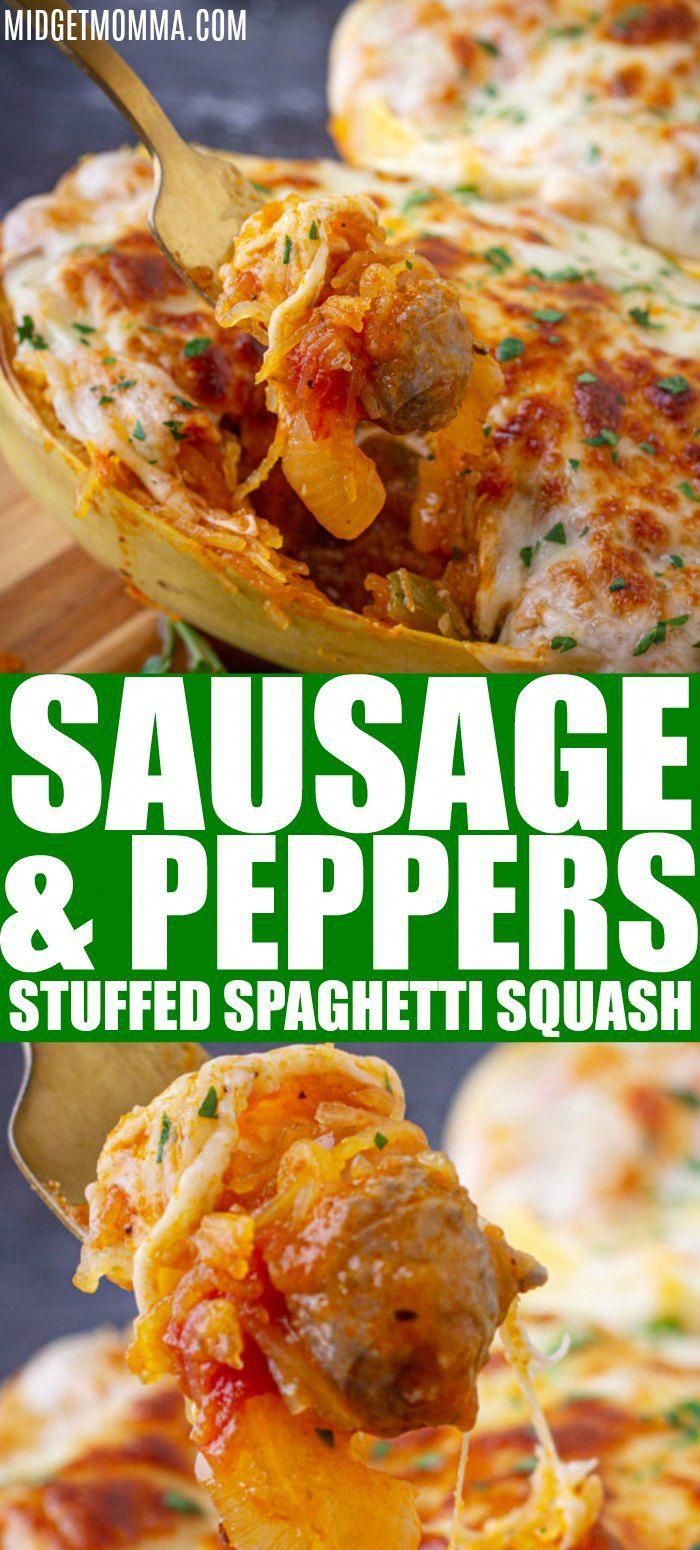 Sausage and Peppers Stuffed Spaghetti Squash is an amazing stuffed spaghetti squash recipe that is