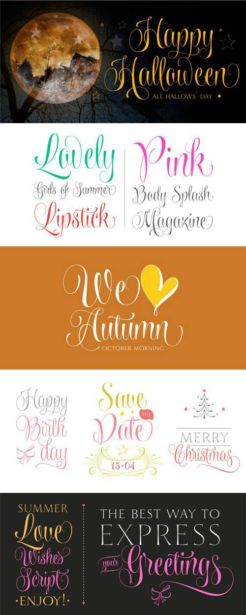 Wishes Script Font Family OTF | 18 Fonts | JPEG Preview | 6.8 Mb
