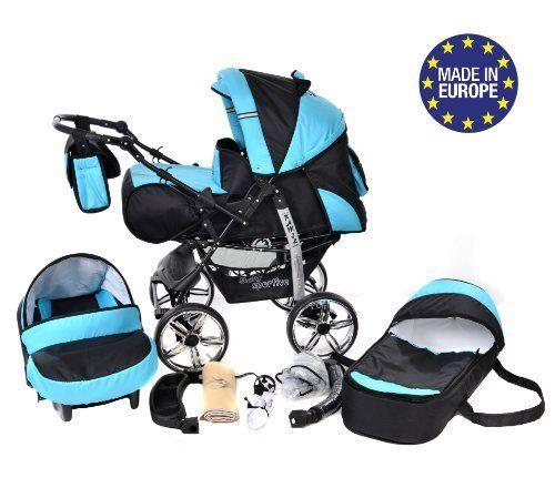 Baby Sportive - Sistema de viaje 3 en 1, silla de paseo, carrito con capazo y silla de coche, RUEDAS ESTÁTICAS y accesorios, color negro, azul  #maternidad