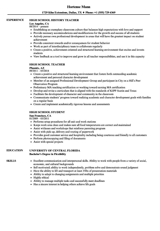 high school resume samples velvet jobs  best high school