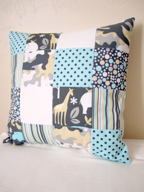 Zoology Patchwork Quilted Pillow Cover  16 Inch by liltulip, $25.00