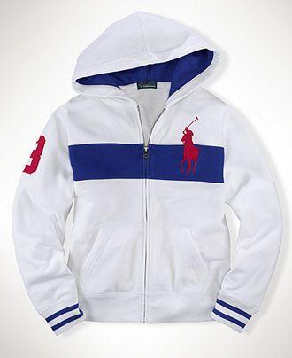 d098ee6ee Polo Ralph Lauren Kids Sweatshirt, Boys Long Sleeve Chest Stripe Full-Zip  Hoodie - Kids Boys 8-20 - Macy's