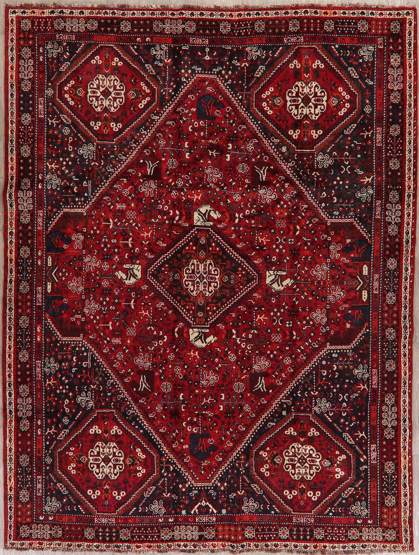 Tribal Geometric Red Abadeh Persian Wool Area Rug 7x9 Wool Area