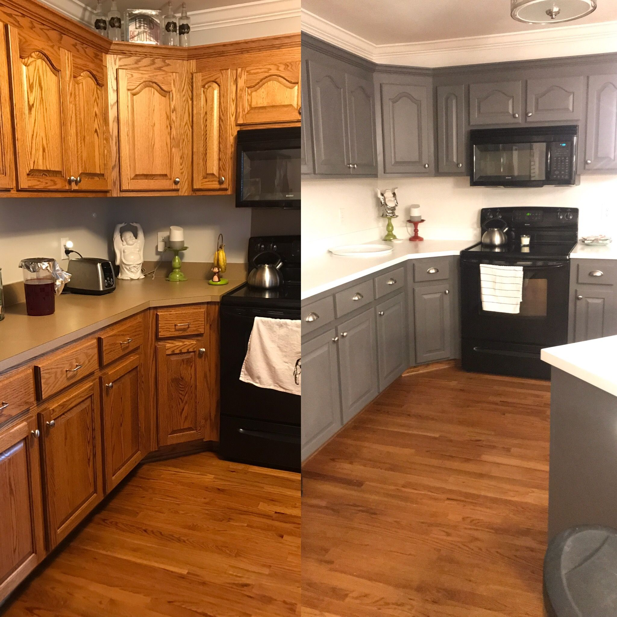 Before After Kitchen Update With General Finishes Milk Paint Driftwood Cabinets Count In 2020 Redo Kitchen Cabinets Kitchen Redo Kitchen Cabinets Before And After