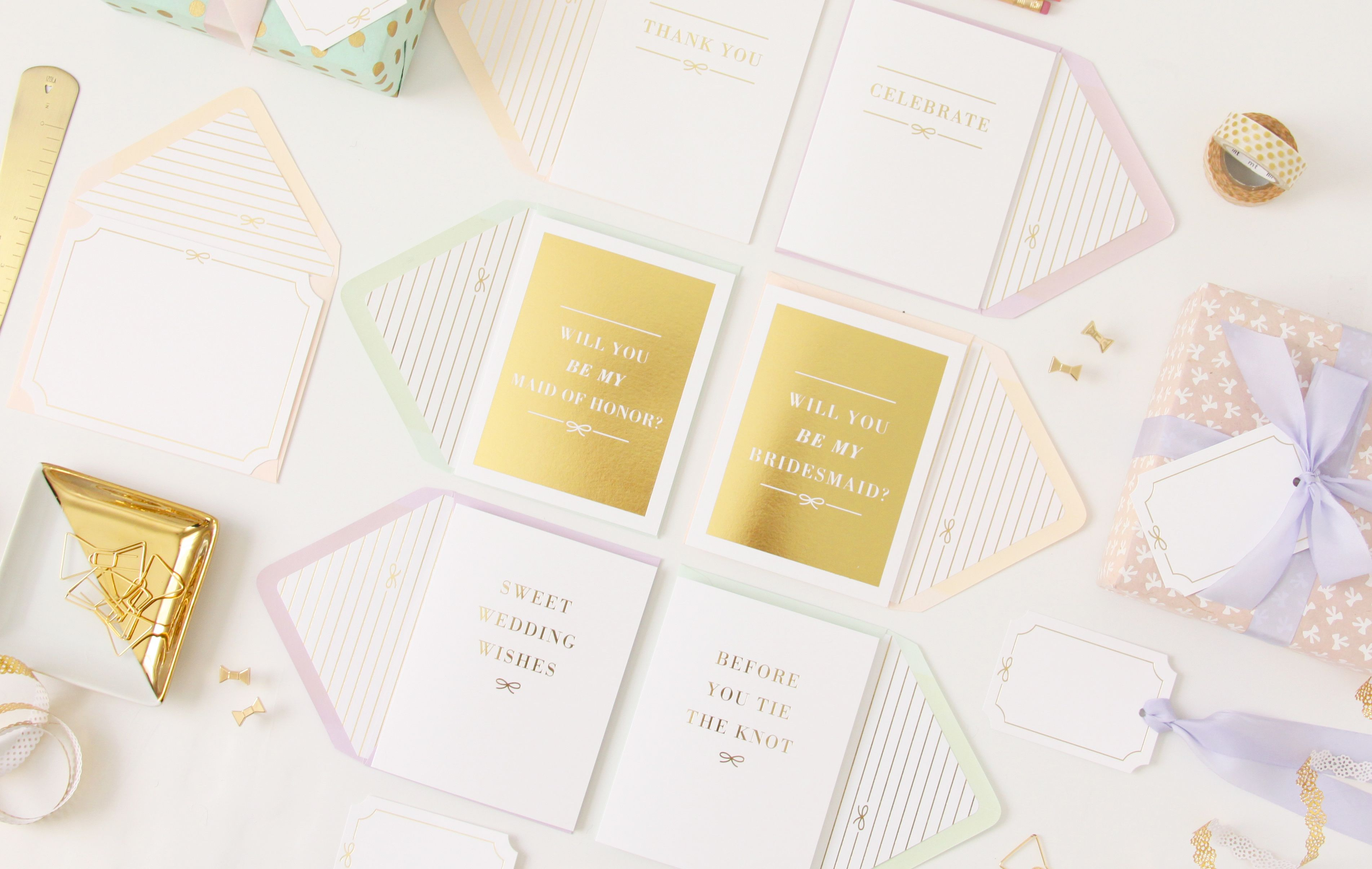 The Bow Collection Gold Foil Printed Greeting Cards Be My