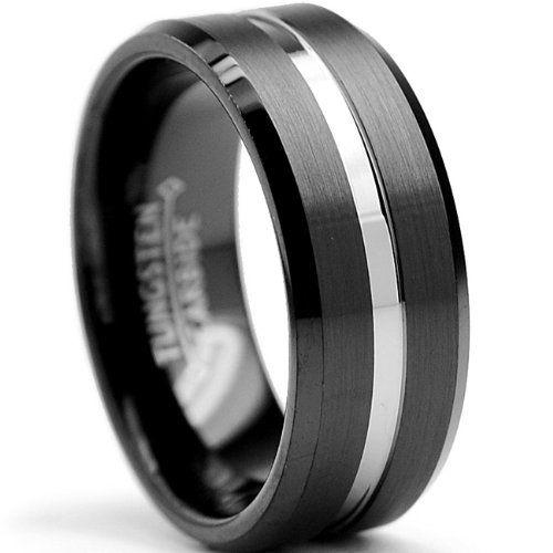 8mm Two Tone High Polish Matte Finish Men S Tungsten Ring Wedding