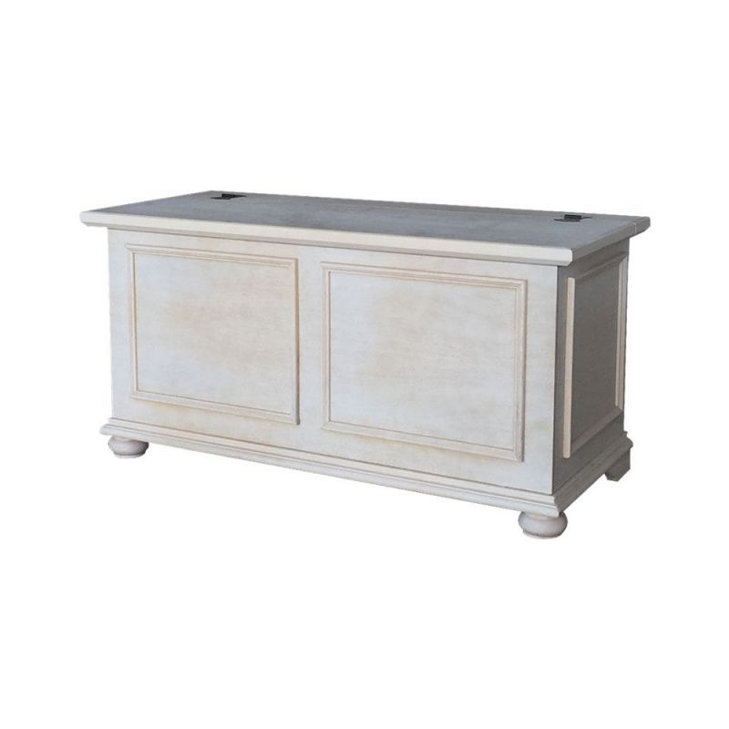 Cassapanca baule in legno shabby chic bianca decape 39 art for Cassapanca shabby chic