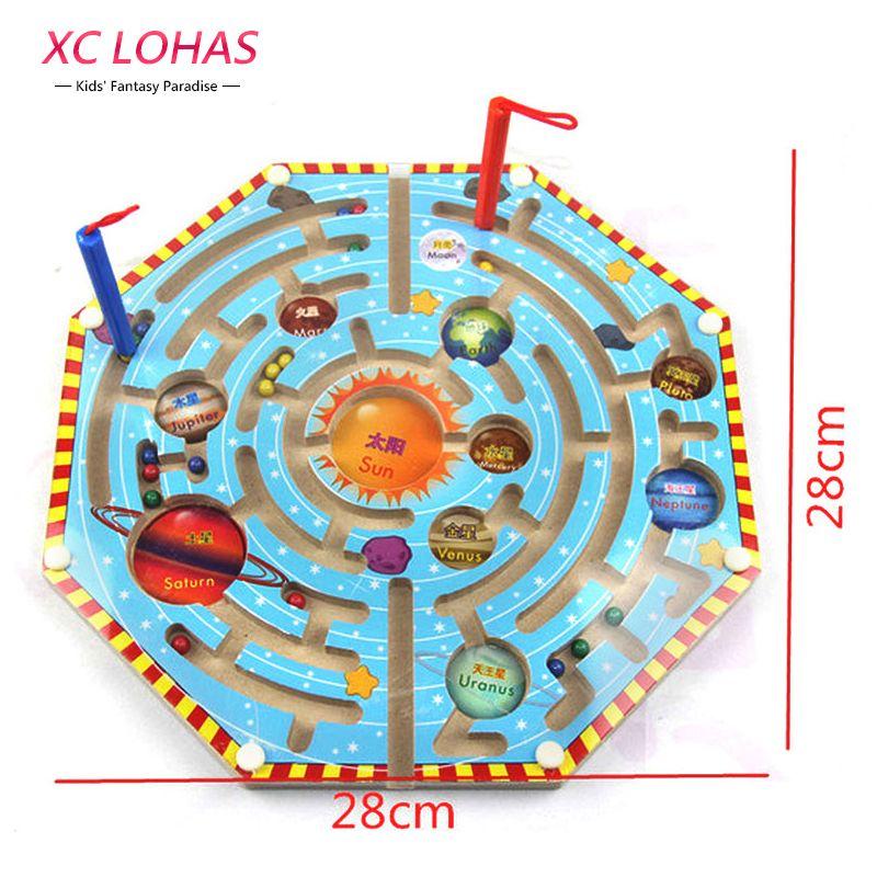 2 in 1 Bordo di Legno Gioco del Labirinto Magnetica Penna Magnetica Labirinto Scacchi Giochi di Intelligenza Children Learning Education Giocattoli