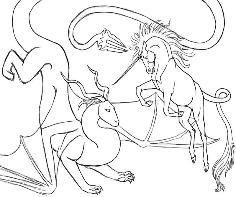 The Unicorn And Dragon Coloring Page Unicorn Coloring Pages Dragon Coloring Page Coloring Pages