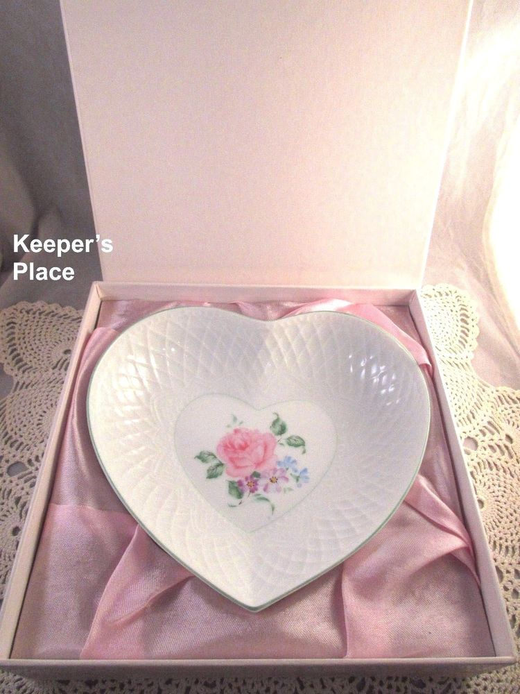 Andrea By Sadek Dish Bowl Shabby Cottage Chic Rose Floral Heart New With Box