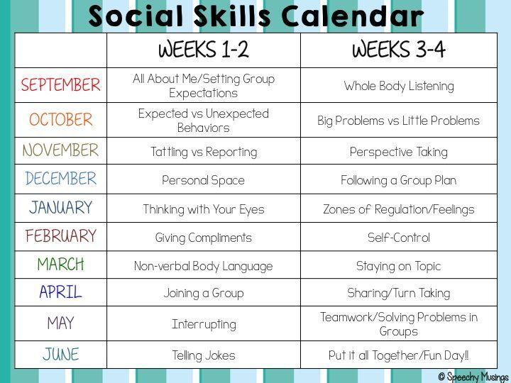 Social Skills Calendar