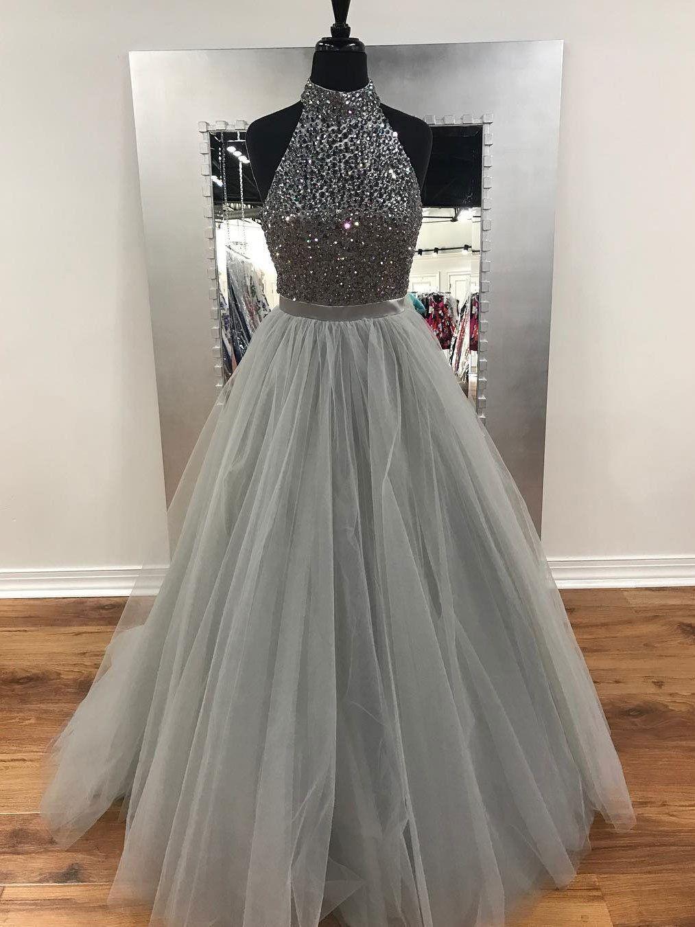 Aline halter high neck grey tulle with rhinestone beaded prom