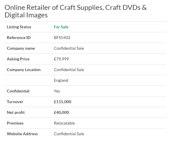 Businesses For Sale Online Retailer Of Craft Supplies Craft Dvds Digital Images Ref Bfs5402 Locat Business Valuation Sell Your Business Selling A Business