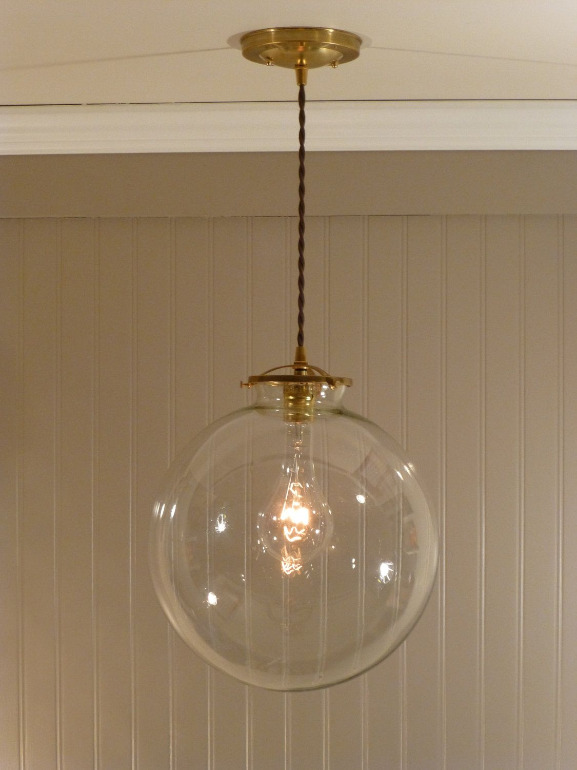 Brass Pendant Light with a 12 inch Clear Glass Globe. $128.00, via ...
