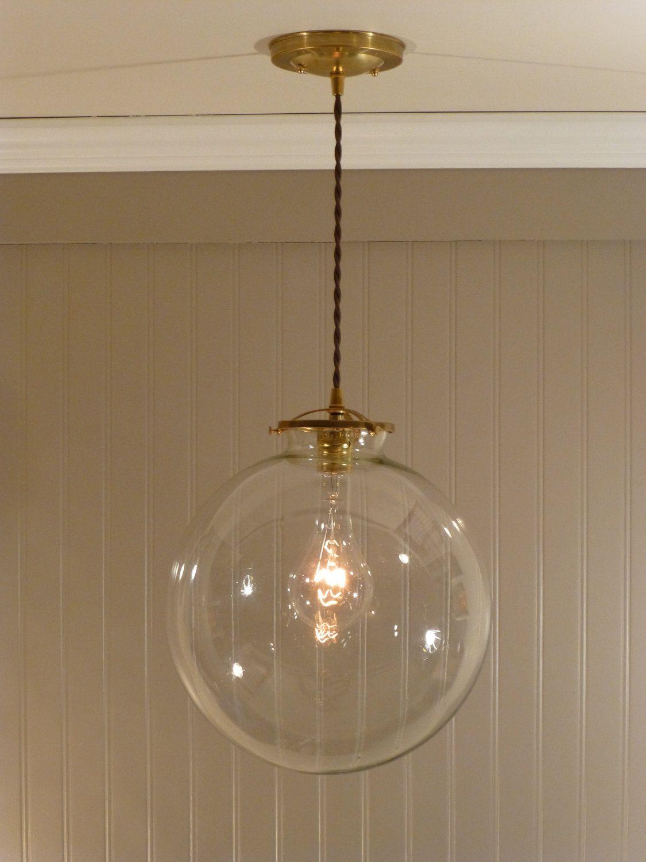 Brass Pendant Light With A 12 Inch Clear Glass Globe 128 00 Via Etsy Glass Globe Pendant Light Copper Pendant Lights Globe Light Bulbs
