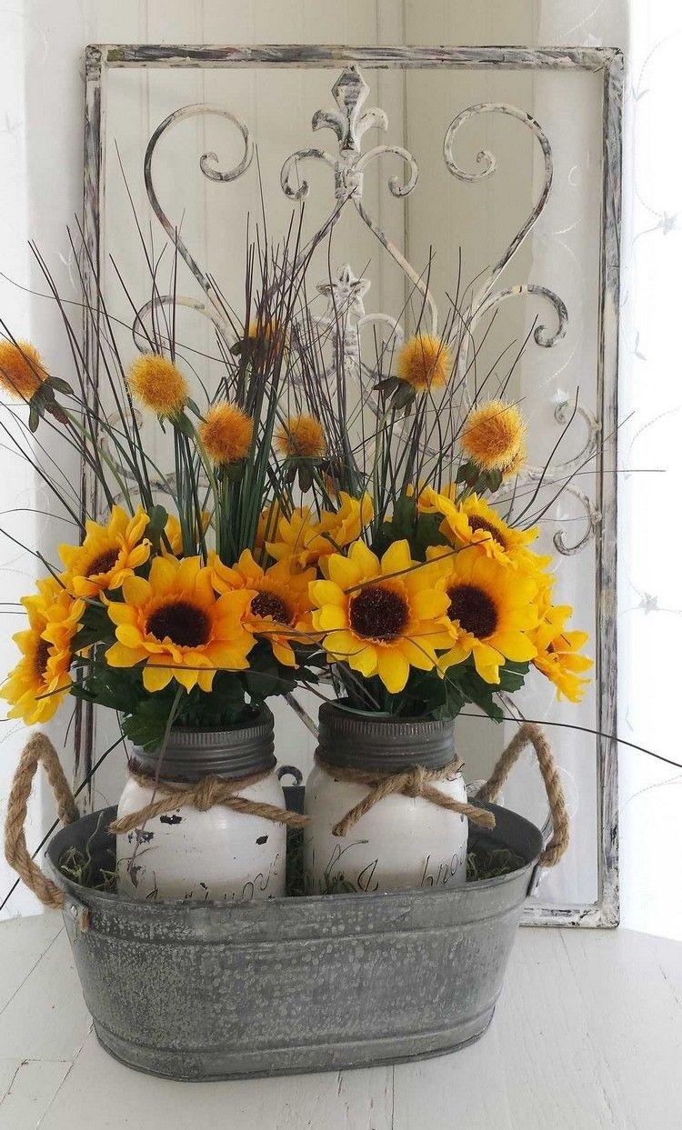 Sommerdeko mit Sonnenblumen – 70 wunderschöne Ideen für eine fröhliche Dekoration - Neu Besten #tischdekoherbstesstisch