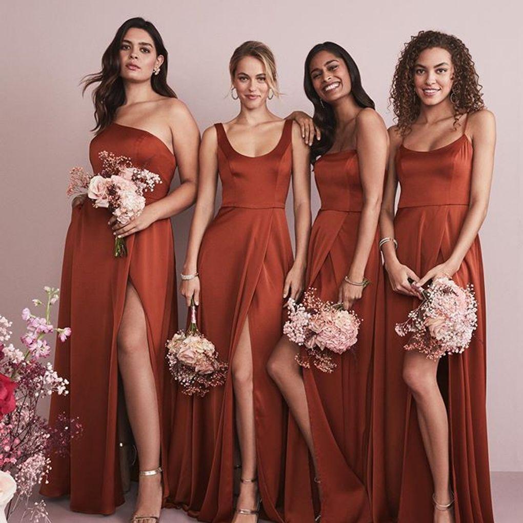 Crepeback satin oneshoulder bridesmaid dress davids