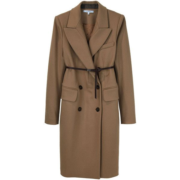 Carven / Wool DB Coat with Belt ($1,350) ❤ liked on Polyvore featuring outerwear, coats, jackets, carven, women, camel wool coat, slim fit coat, brown leather belt, slim coat ve double-breasted wool coat