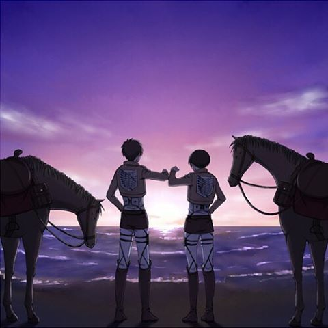 Levi and Eren after a job well done.