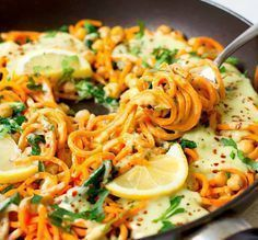 Photo of Sweet potato pasta with avocado coconut ginger sauce – ♥ Healthy On Green