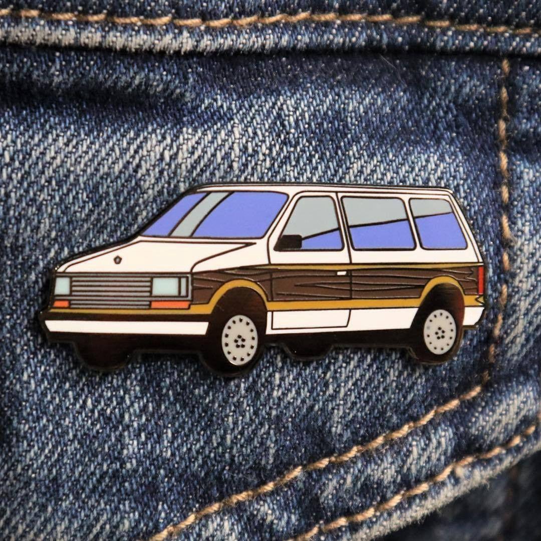 Wood Panel Minivan Enamel Pin