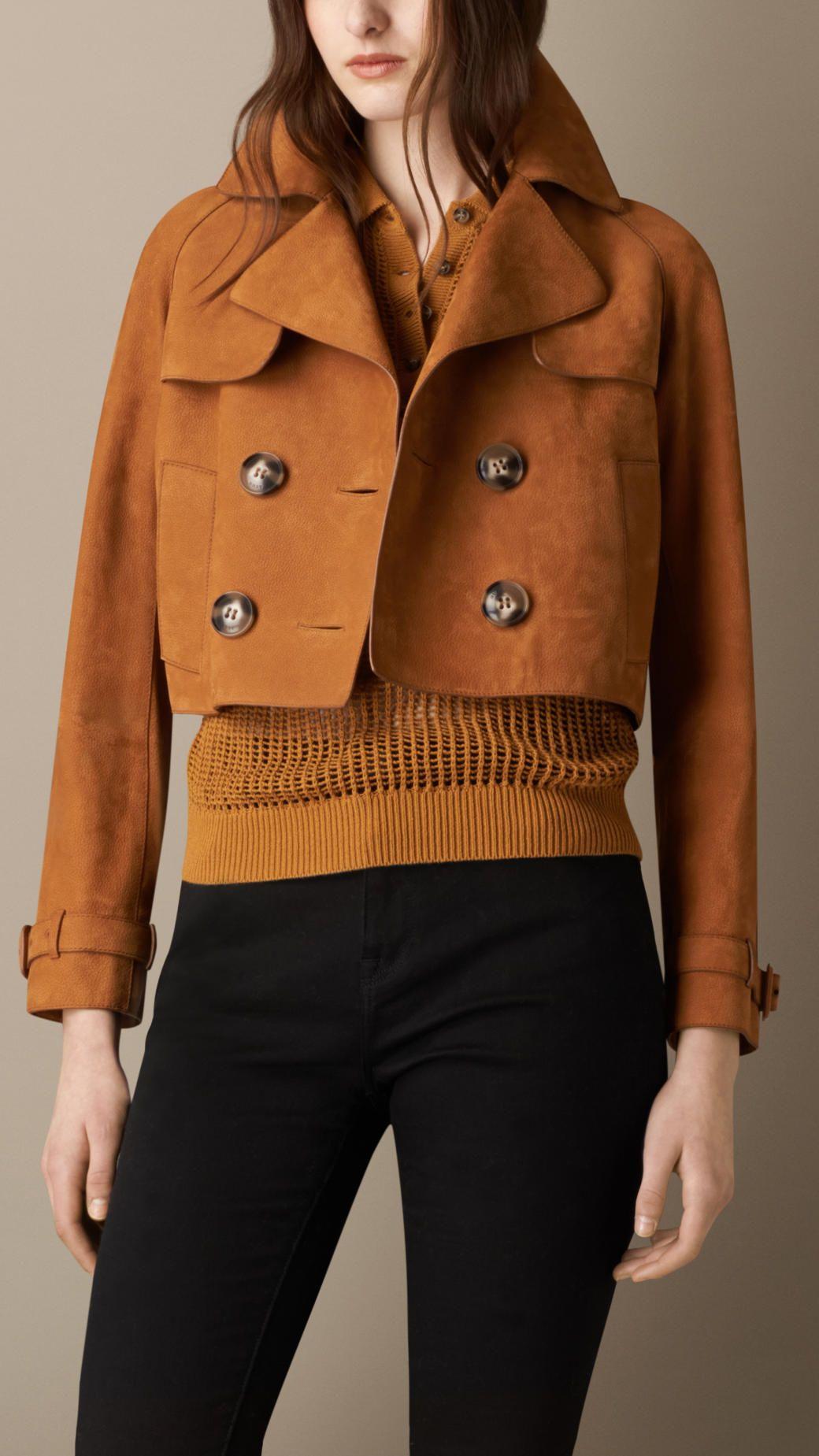 Cropped Oversize Nubuck Jacket Burberry Женские