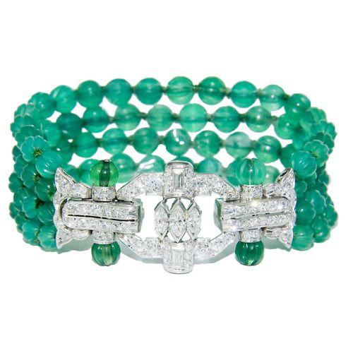 Art Deco Era Emerald Beads, Diamonds In Platinum Bracelet
